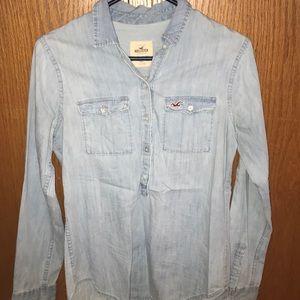 Half button Hollister denim shirt